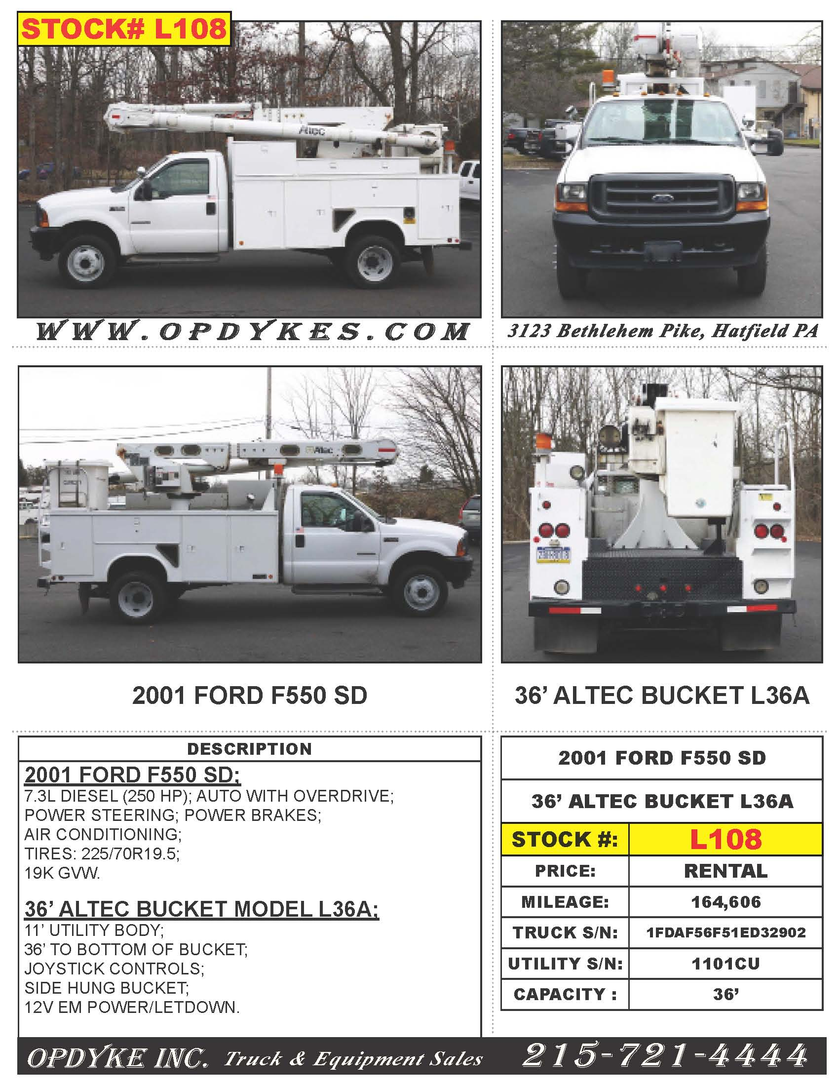 Opdyke, Inc  Specialized Trucks & Equipment - Rentals
